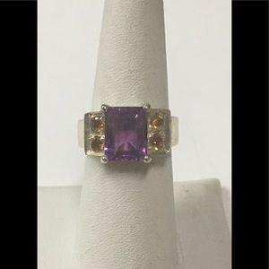 Sterling Silver Amethyst and Citrine Ring